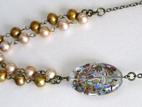 Pearls and Japanese Tensha Necklace