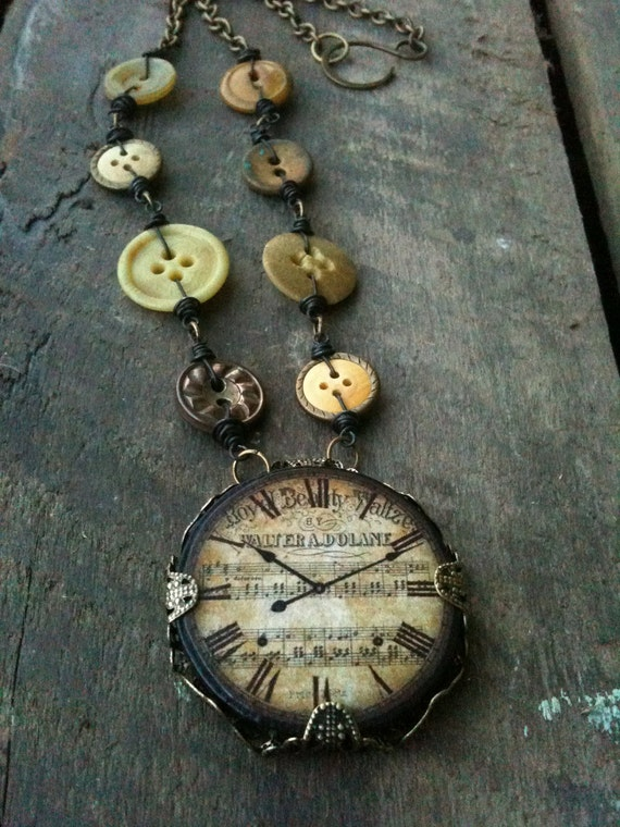 Clock Ephemera Tile Necklace