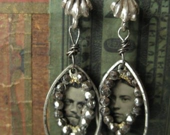 Jill and Jack -- tintype and marcasite sterling drops