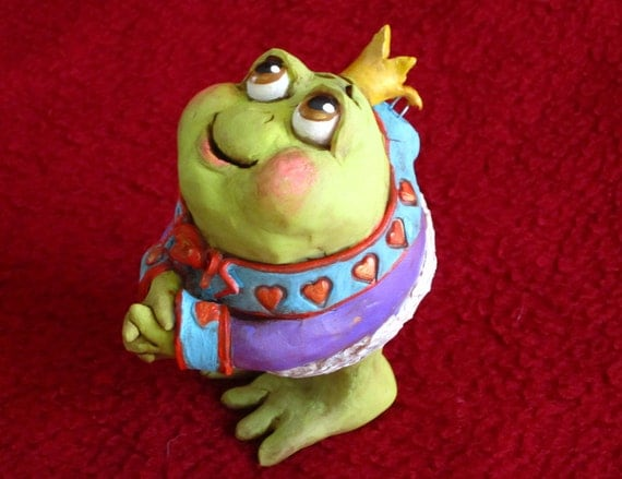 Frog Prince: OOAK original christmas ornament or decoration