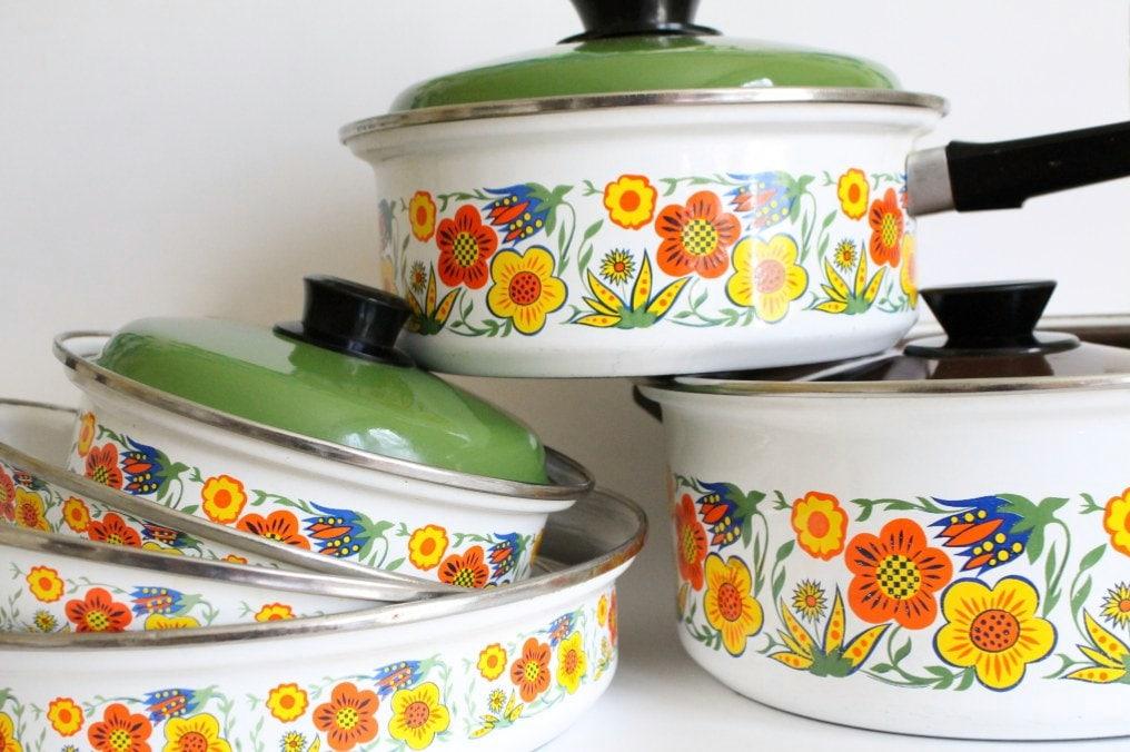 7 Piece Vintage Enamel Set Flower Pots And Pans By