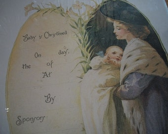 Victorian Infant Christening Certificate