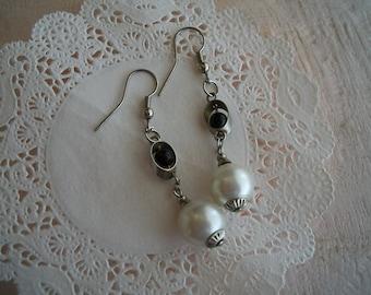 Vintage Pearl and Black Bead Drop Earrings ~ Pierced Earrings
