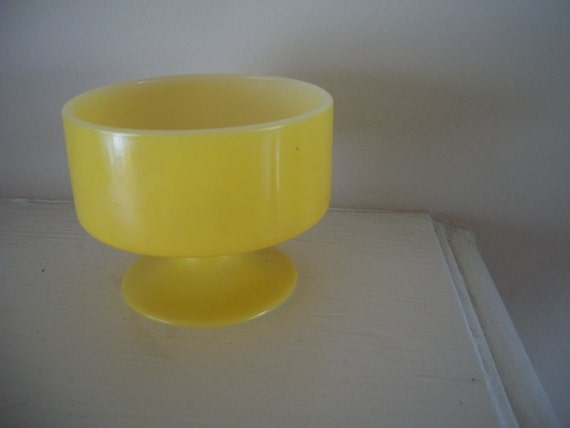 Mid Century Yellow Compote Bowl
