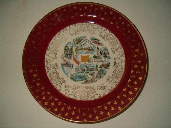 Homer Laughlin Oregon Souvenir Plate By Treasurecache On Etsy