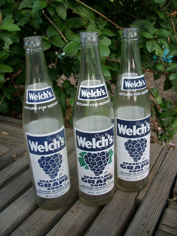 Vintage Soda Bottles Set Of 3 Welch S Sparkling Grape