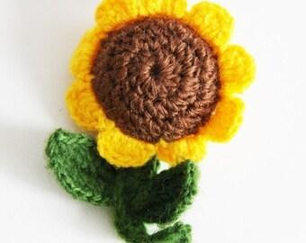 crochet sunflower key ring