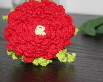 Crochet flowers - Peony (red)
