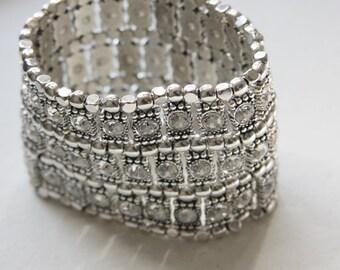 Wide Silver and Crystal Rhinestone Bracelet