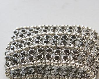 Wide stylish metal reversible elastic bracelet with grey Rhinestone