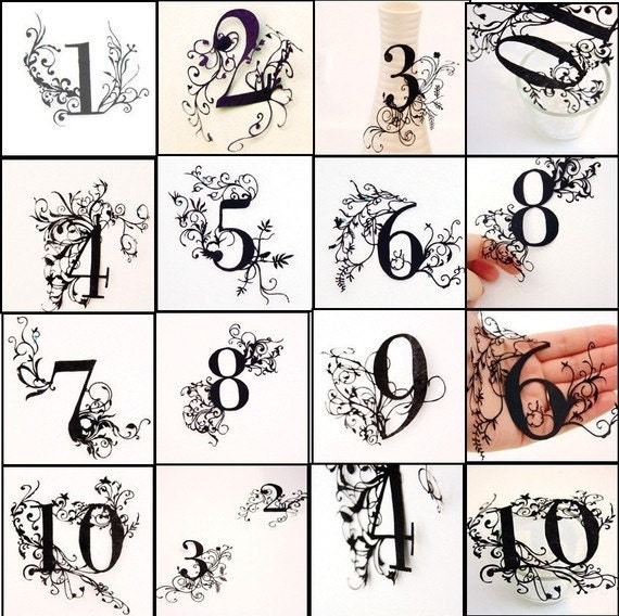Made to Order - Papercuts-cutouts-handcuts-silhouette-Lucky number-Wedding Table number