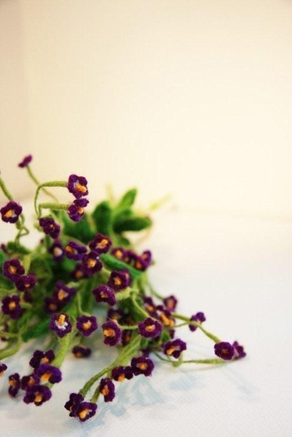 Crochet flowers - Home Deco - Table Set - Bouquet - Myosotis sylvatica - Forget-me-not