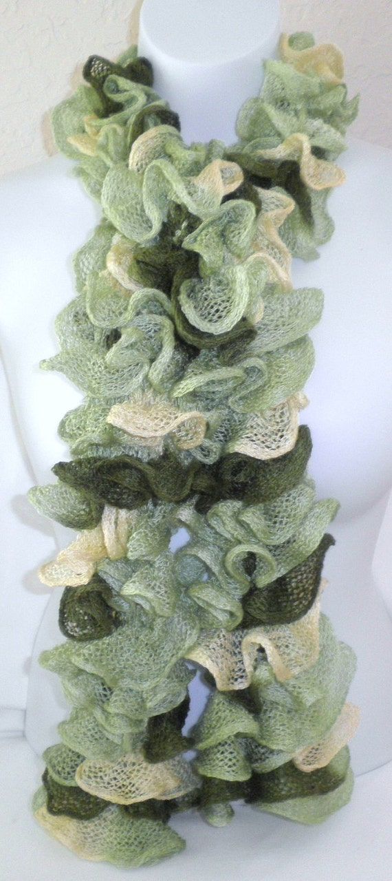 Handknit Ruffle Scarf Green and Yellow