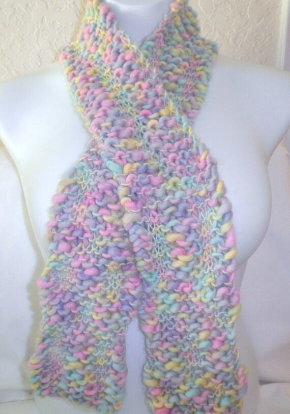 Handknit   Scarf in Pastel Wool Yarn