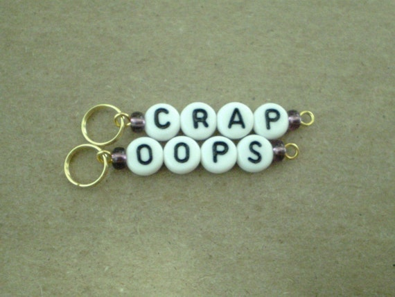 Goldies Oops and Crap Stitchmarkers handmade stitch markers for knitting