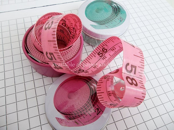 Two 'Tape Measure in a Tin'  Ruler, Knitting Supplies, School Supplies, Office, project bag goodies and gifts