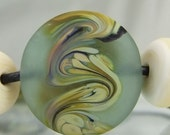 Etched Aqua Green, Raku,Black,Ivory Lampwork Bead Set