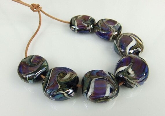 Blue,Purple,Ivory Lampwork Bead Set