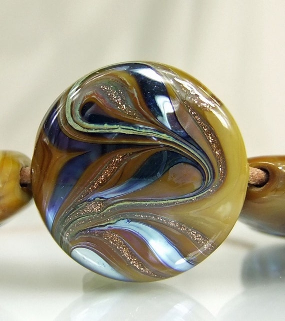 Cinnamon,Blue,Goldstone,Metallic Lampwork Bead Set