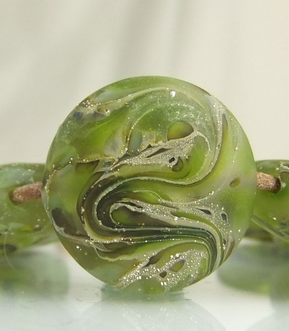 Glass Beads, Lampwork, Etched Silver Green