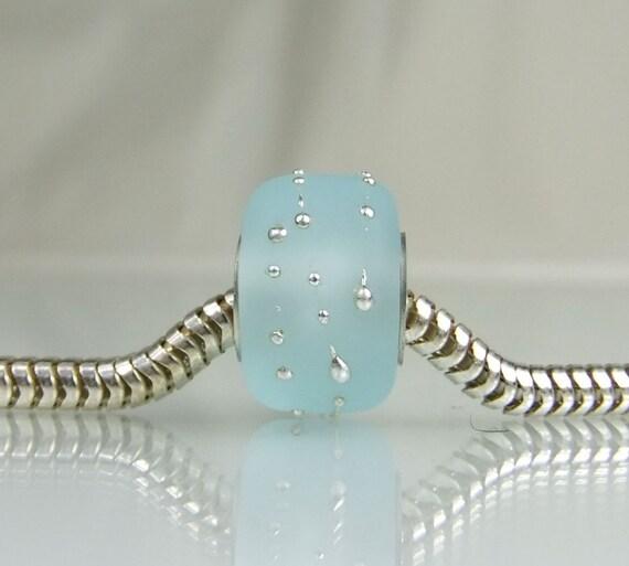 Etched Aqua and Fine Silver European Charm Bead, Fits Troll