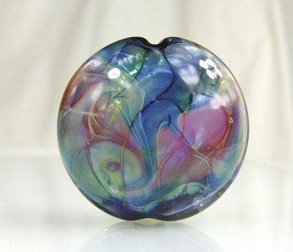 Blue, Pink Lampwork Focal Bead
