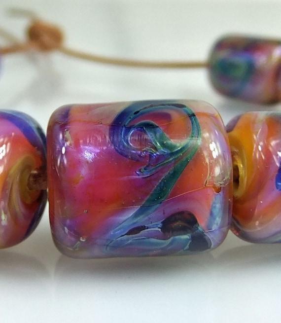 Pink, Blue, Green Lampwork Bead Set  11 Beads