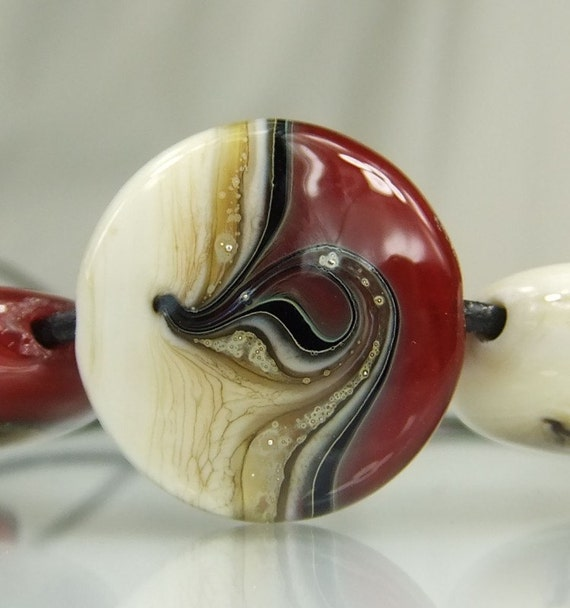Red/Black/ Ivory/Silver Lampwork Bead Set