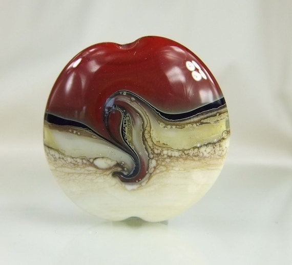 Lampwork Glass Focal Bead Red/Black/ Ivory/Silver