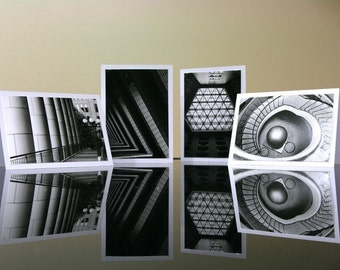 Abstract Architecture - black and white photo greeting cards set, geometric black and white photography, modern MC Escher travel street)