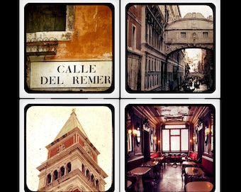 Merchant of Venice - Italy travel ceramic coasters set, orange earth brick bridge of sighs canal gondolas campanile romantic vintage dreamy