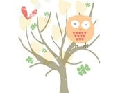 Owl in a tree Giclee print