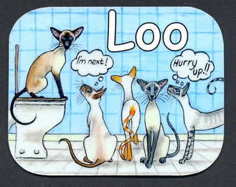 SIAMESE CAT LOO rest room sign by Suzanne Le Good