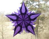 Purple Origami Window Star Suncatcher with 5 Points