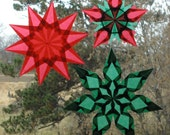Set of 3 Green and Red Window Star Suncatcherrs for Christmas or Yule