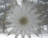 White 16 Point Window Star with Sharp Points
