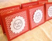 6 Mini Blank 3x3 Notecards with Red Hearts and Hand-Stamped Thank You