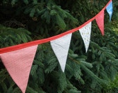 Red, White, and Blue Patriotic 4th of July Fabric Pennant Bunting - 9' Long Banner with 10 Flags