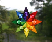 Checkerboard Rainbow Window Star with 8 Points