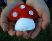 Hand-Embroidered Toadstool Mushroom made with Red and White Wool Felt