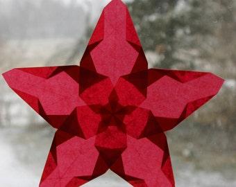 Waldorf Red Window Star in Poppy Star Shape