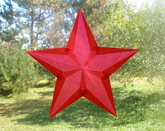 Ruby Red 5-Pointed Waldorf Star 4th of July Celebration Suncatcher Homeschool Classroom SHETeam UWIBTeam
