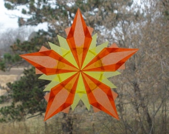 Orange and Yellow 5-Pointed Window Star Sun Catcher - Ecofriendly Sustainable Natural Home Decoration - Autumn Thanksgiving  HandmadeMN