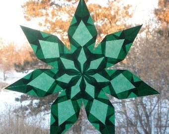 7 Pointed Green Window Star Sun Catcher