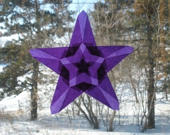 Purple Origami Suncatcher with Large and Small Star Shapes