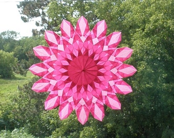 Pink Poppy Sunburst Window Star Waldorf Suncatcher - Birthday Baby Shower -  School Classroom