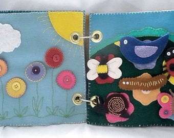 Pattern - Rainy Day Activity Book for Children - Hand Embroidered Felt Boredom Buster with Games
