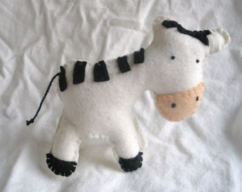 PDF Pattern - Zebra Stuffie Toy Made from Wool Felt and Embroidery