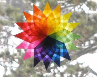 Rainbow Mandala Window Star Sun Catcher