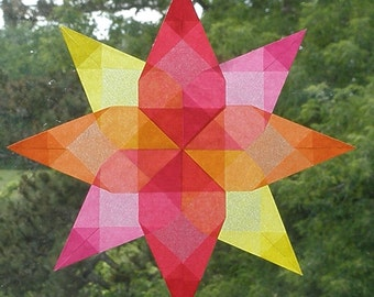 4 Color Summer Window Star with Floral Center - Intricately Folded Suncatcher - Made in the United States U.S.A. Gift - Inspiring Art Waldorf Montessori Homeschool School Classroom - Naturalkids Natural Kids Team - SHETeam - handmadeMN